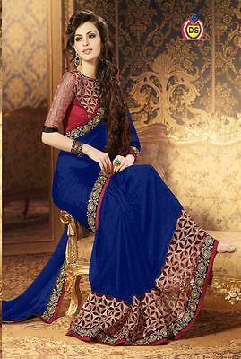 Indian Ethnic Designer Women Wedding Saree Bollywood Party Wear Ethnic Sari 799