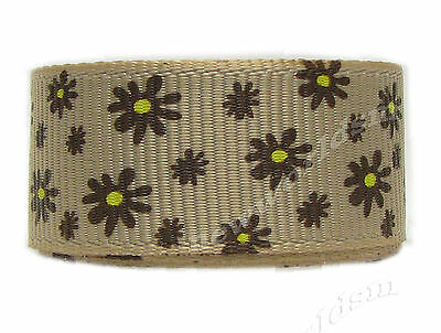 "8y 16mm 5/8"" Brown Daisy Flower Grosgrain Ribbon Gift Eco Premium FREE PP"