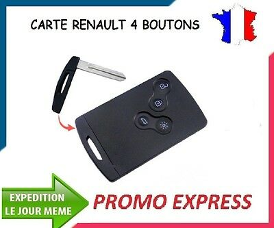 CARTE RENAULT VIERGE 4 BOUTONS 434 Mhz CLIO 4,
