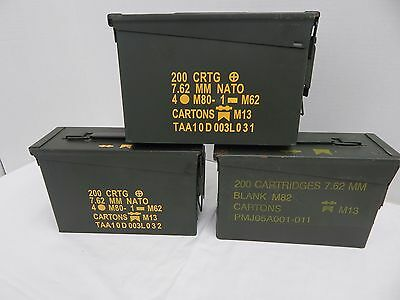 30cal M19A1 7.62mm .30 Caliber Ammo Can Box Military Surplus Lot of 3