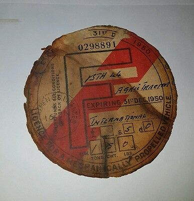 1950 Agricultural Tractor Tax Disc + More