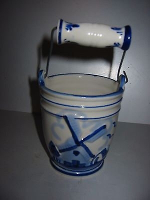 blue and white china bucket holland. blue and white windmill scene on china pale