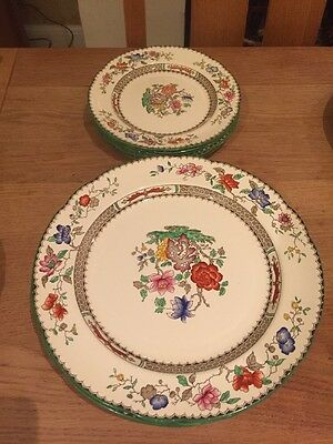 Copeland Spode Chinese Rose Five Plates and  Six Small 7 1/2 Inch Plates