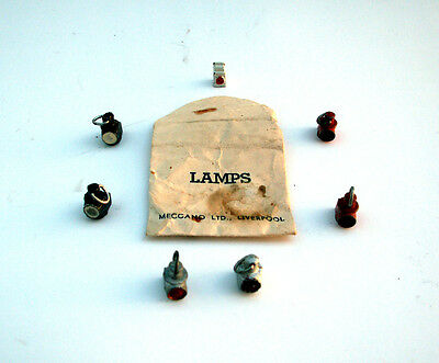 HORNBY O GAUGE ORIGINAL LOCO LAMPS, 1930's X 7 AND PACKET IN VERY GOOD CONDITION