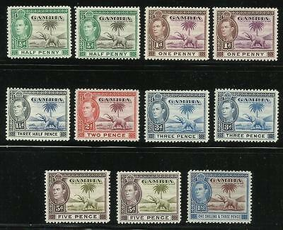 Gambia. 1938. KGV1. Sheet of 11 stamps.