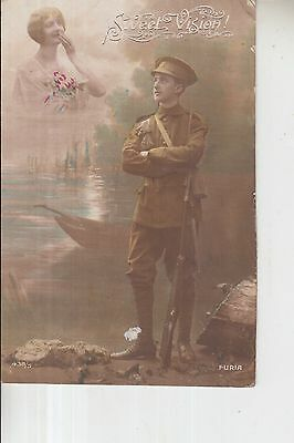 Ww1 1916 British Forces In France Apo 124 Censored Postcard