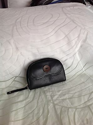 Clarks Black Leather Coin Purse, Front Flap & Coconut Button Trim, Made in India