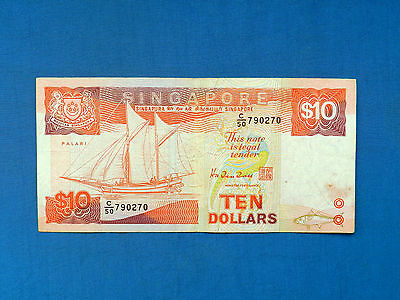 1989 Singapore $10 Banknote *P-20*       *F-VF*