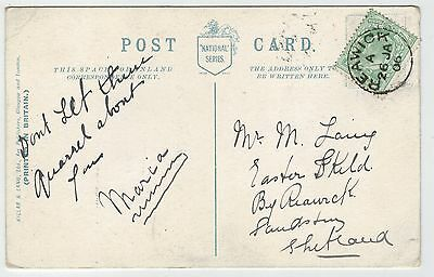 """Shetland - Greetings-card with very good """"Reawick"""" thimble date stamp, 1906."""