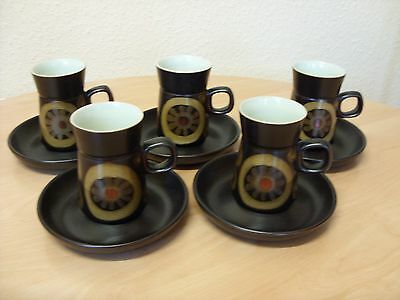 FABULOUS RETRO set of 5 DENBY ARABESQUE COFFEE MUGS  / CUPS & SAUCERS