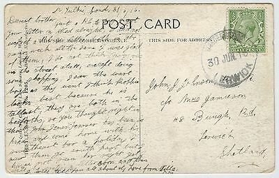 """Shetland - Scottish humour-card with """"Garderhouse"""" rubber stamp, 1916."""