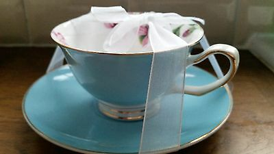 Turquoise / Pink Flower Tea Cup And Saucer