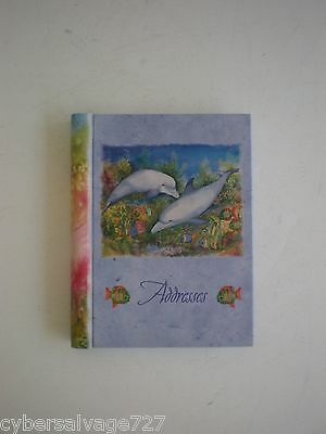 Dolphin Decorated Address And Telephone Book Hard Cover Use For Desktop Purse
