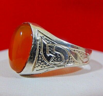 Antique Ottoman Sterling Silver Carnelian Mens Ring Middle Eastern Hallmarks