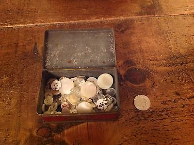 Antique/Vintage mother of pearl and glass buttons with vintage tin box