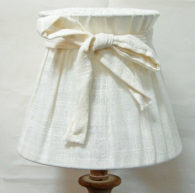 French shabby chic ivory linen pleat lamp shade with bow detail
