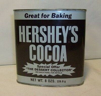 Vintage Hersheys Cocoa TIN 8 oz GREAT FOR BAKING w/ Recipes Metal Container