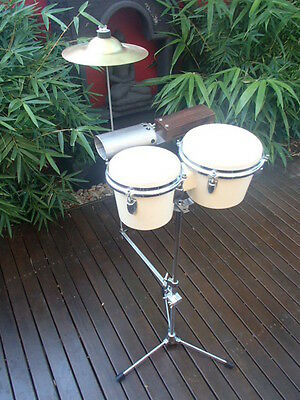 Vintage Bongo Drums Wood Block Cow bell Cymbal combo 50s.