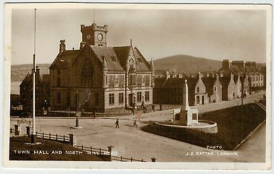 Shetland - Rattar-card of the Town Hall and North Hill Head, Lerwick.