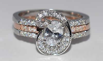 Solid 925 Sterling Silver with Rose Gold Plating CZ Ring - Size Q