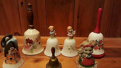 Lot of 7 Mixed Vintage Bells - Hand painted, Homeco