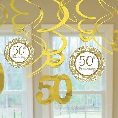Pack Of 12 Golden Elegant 50Th Wedding Anniversary Hanging Swirl Decorations