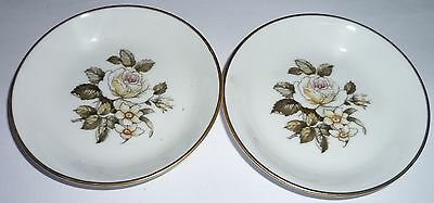Royal Worcester - pair of pin dishes / trinket dishes - white rose & flowers