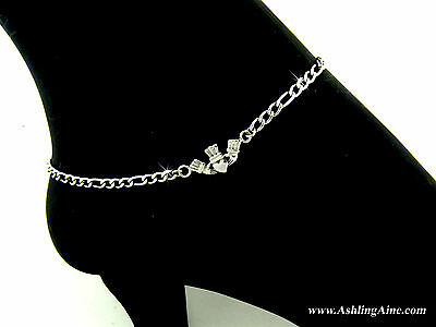 316L Stainless Steel Traditional Claddagh Anklet ( S77)