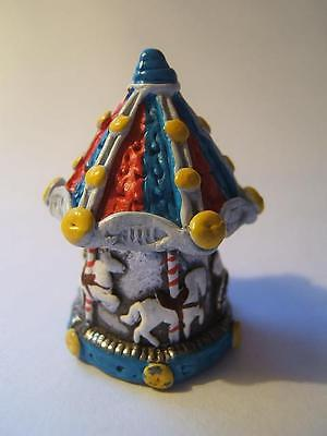 Novelty PEWTER enamelled THIMBLE Warwick CAROUSEL Merry Go Round removable lid