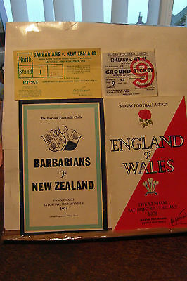 england v wales 1978 + ticket babas v nz1974 + ticket  rugby union programmes
