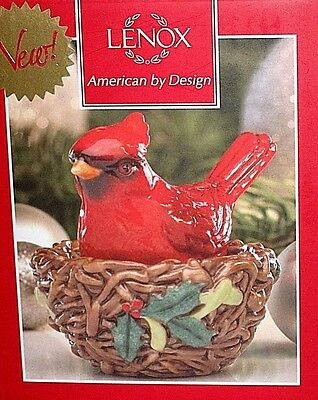 Lenox Winter Greetings Cardinal In Nest Salt And Pepper Shakers New MIB