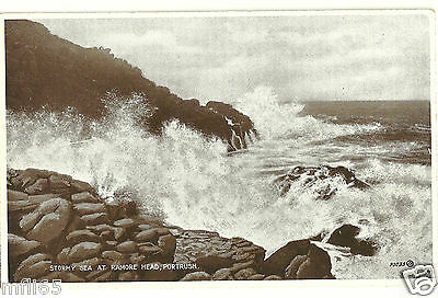 Old Postcard - Stormy Sea at Ramore Head, Portrush - Valentines - Unposted