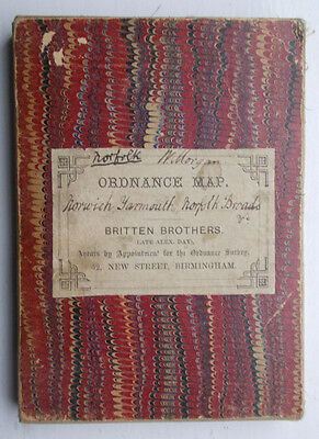 """Composite Ordnance Survey Old Series 1"""" Map - Norwich Yarmouth Norfolk Broads"""