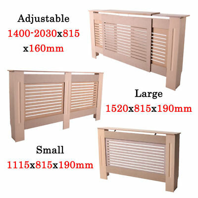MDF Wood Wall Radiator Cover Shelf Small Large Adjustable Cabinet Unpainted