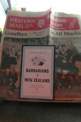 1973 barbarians v nz programme /western mail suppliiment  rugby union programmes