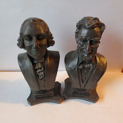 "K's Collection Lot of 2 5-1/4"" US Presidents Lincoln Washington Bust Figurines"