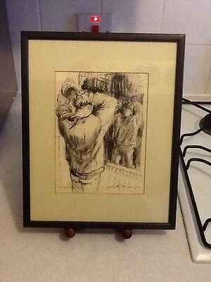 Lynette Singers original charcoal drawing framed picture