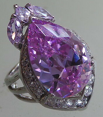 sterling silver ring with amethyst and clear crystals size  O