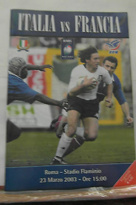 2003 ITALY V FRANCE  SIGNED rugby union programmes