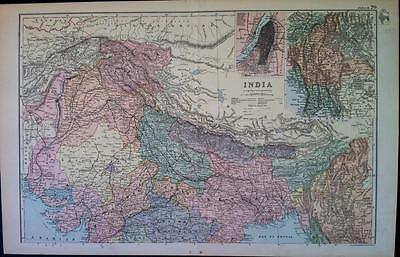 Map of INDIA c1893, by G W BACON, Engraved, colour VGC, 100% Original