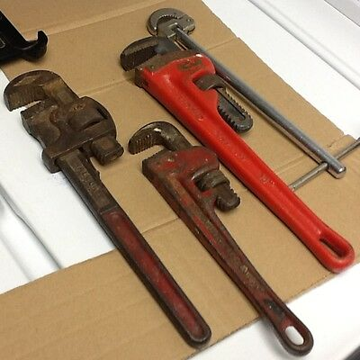 "Ridgid 14"" Pipe wrench+Stillson 14""+10 Heavy pipe wrench+Faucet wrench"