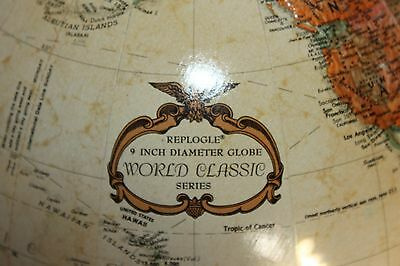 "9"" Diameter Replogle World Classic Series Globe On Dark Wood Stand 3D"