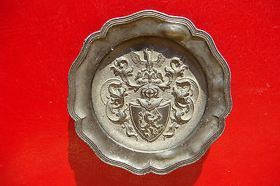 Antique High Relief Angel Mark Pewter Plate with a pelican and belgian lion