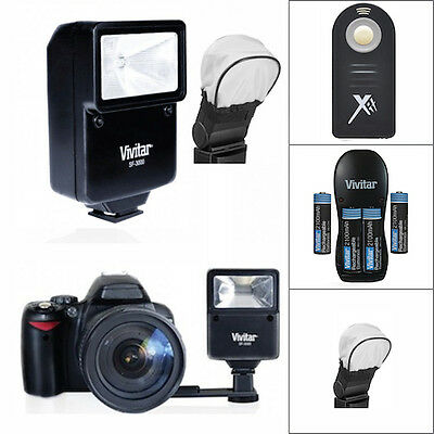 Travel Vivitar Flash + Remote + Charger + Batteries For Nikon D3000 D3100 D3200