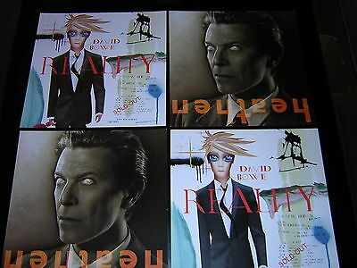 4 David Bowie Promotional 12X12 Cards - Heathen/reality