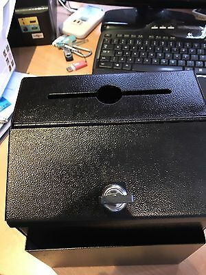 Charity Boxes-  Black Metal Donation Box Suggestion Charity Key FundRaising