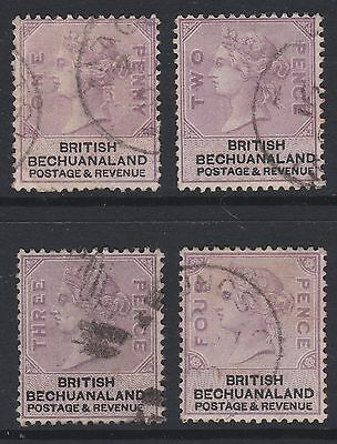 Bechuanaland QV 1888 selection purple & black used sg10-13