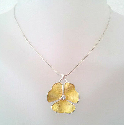 New Pilgrim Necklace Jewelry Swarovski Crystals Gold Flower Pendant Silver Rare