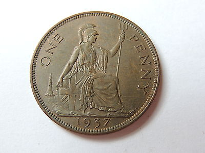 1937 GEORGE VI ONE PENNY COIN (EF CONDITIION) - Ref 140