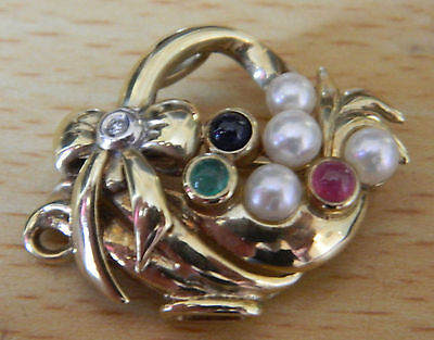 9ct gold diamond, ruby, emerald, sapphire & pearl Jewel basket brooch, 5.5 grams